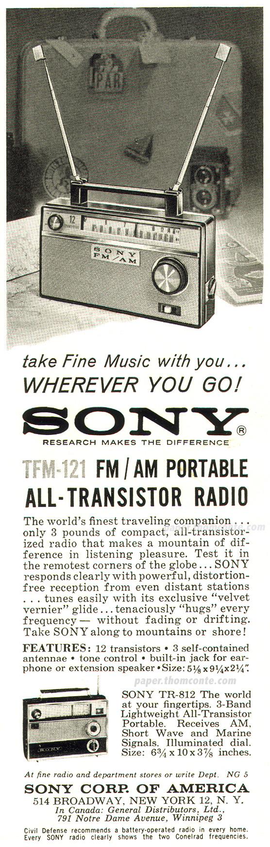 Sony TFM-121 FM/AM Radio