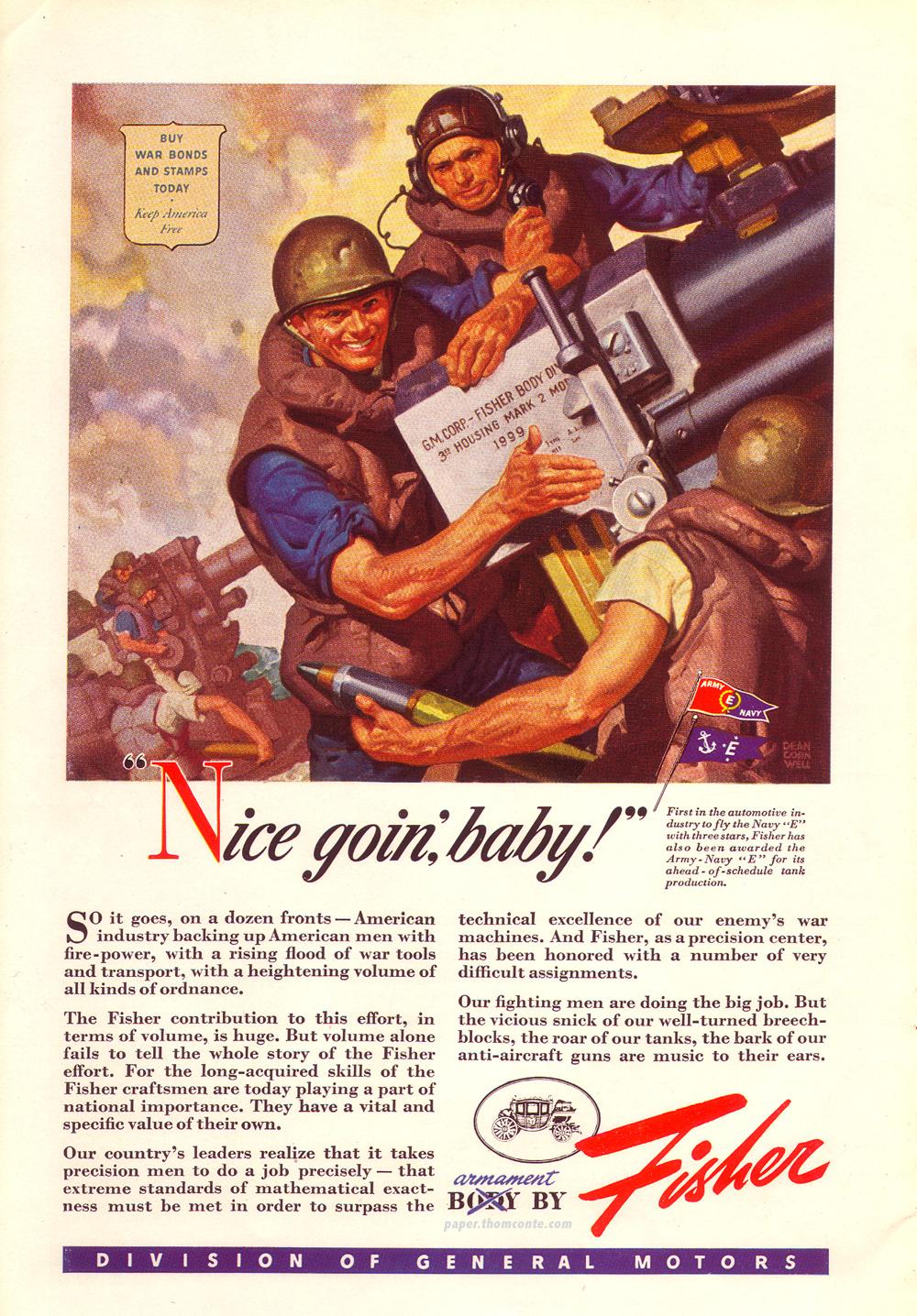 Fisher war advertisement